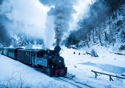 Narrow gauge steam train in winter