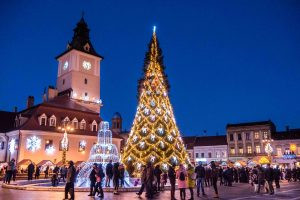 Brasov Christmas market during new year eve
