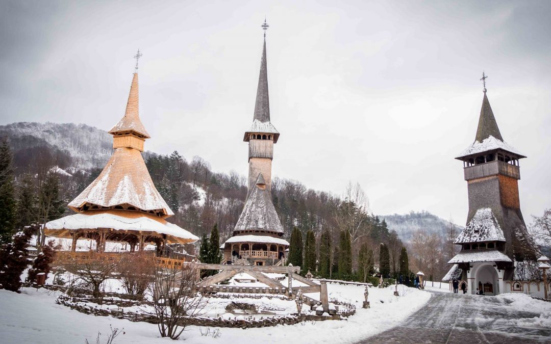 Barsana Wooden Monastery in winter