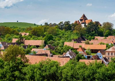 The fortified Church of Viscri in the distance