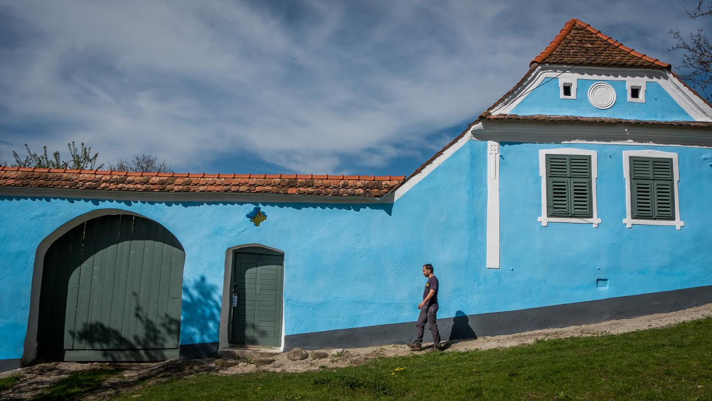 Traditional blue house in Viscri village
