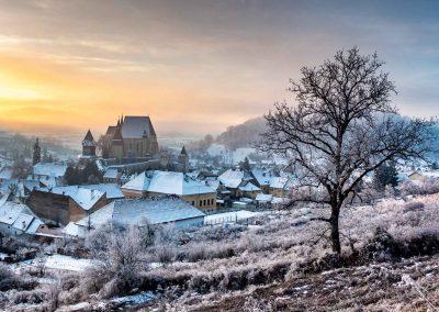 Winter landscape of Biertan Fortified Church