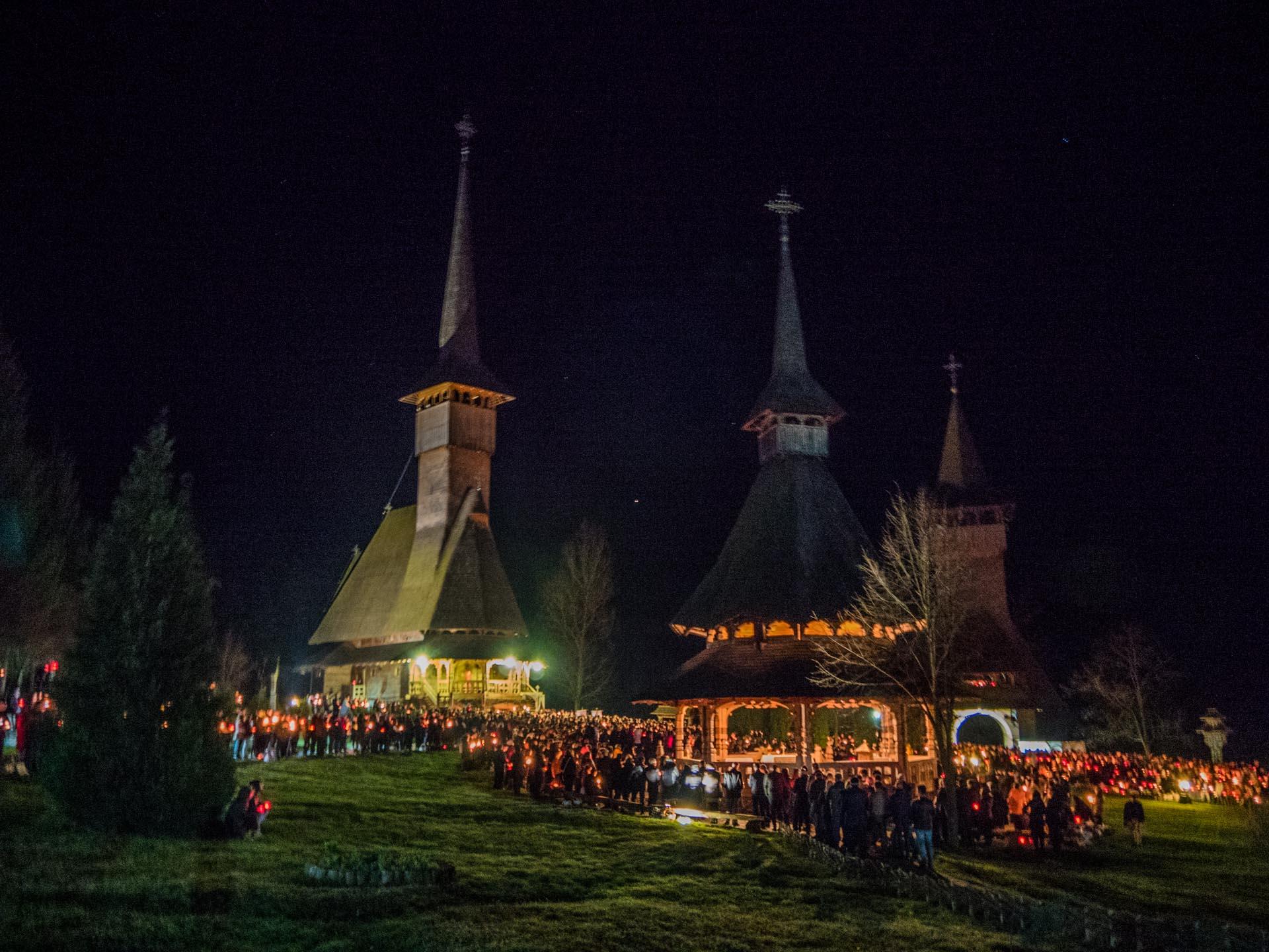 Barsana Wooden Monastery during Easter Mass