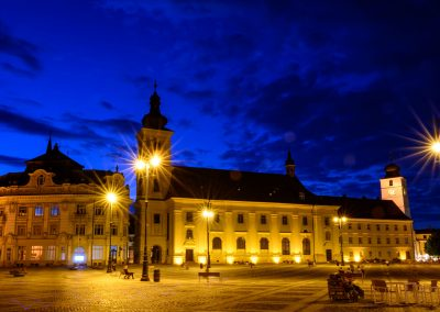 The Large Square in Sibiu at blue hour