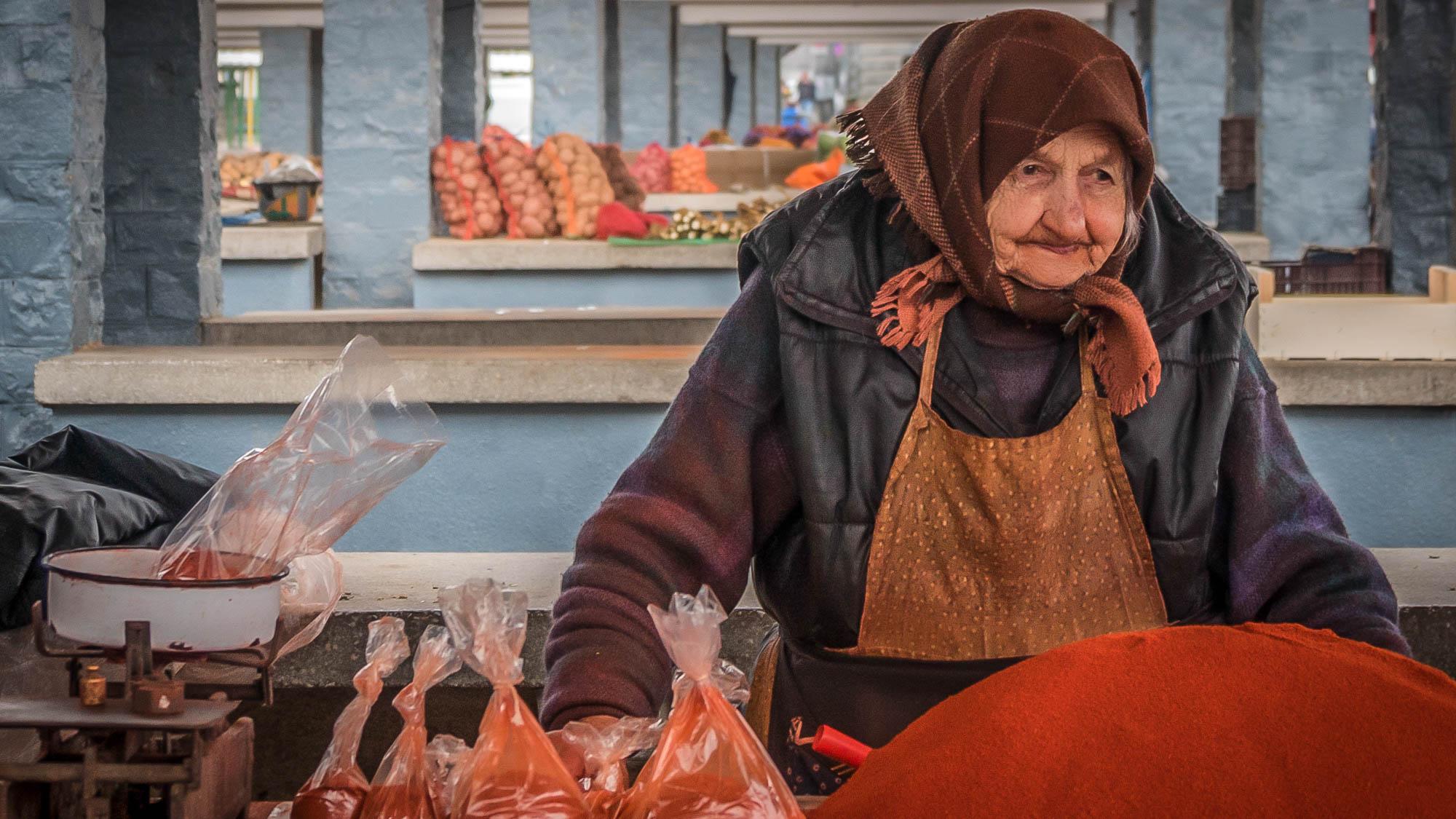 A local market in Romania
